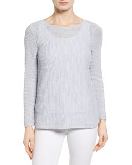 Sheer Dusk Cotton Blend Layering Sweater