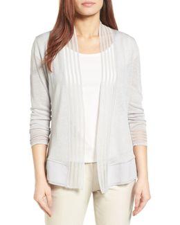 Stripe Trim Linen Blend Cardigan