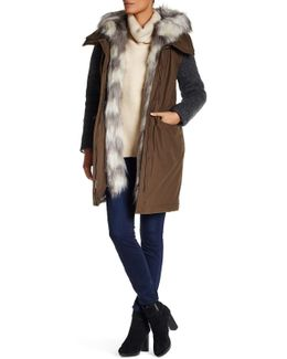 Removable Faux Fur Collar Knit Sleeve Coat