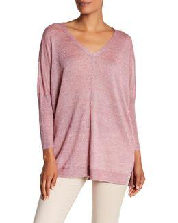 V-neck Knit Linen Pullover
