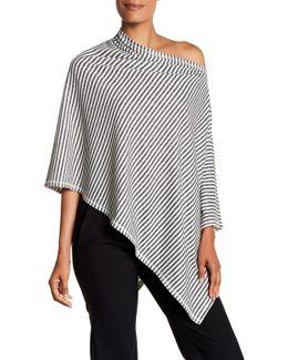 Striped Asymmetrical Linen Blend Poncho