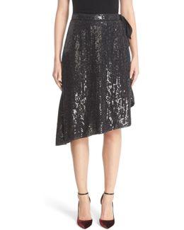 Brenndah Asymmetrical Sequin Wrap Skirt