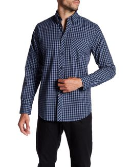 Long Sleeve Windowpane Print Woven Shirt