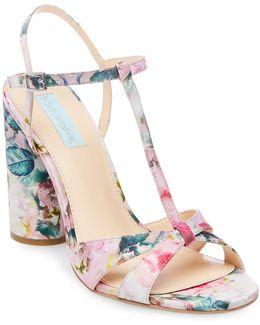 Luisa Floral Block Heel Sandal