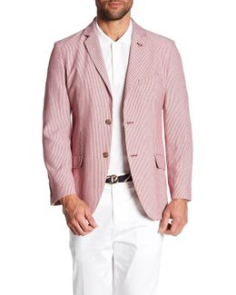 Red & White Striped Two Button Notch Lapel Sport Coat