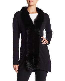 Genuine Solid Dyed Fox Fur Trim Open Cashmere Cardigan