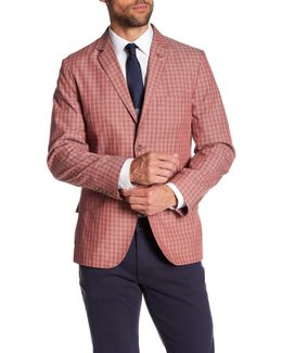 Red Checked Two Button Notch Lapel Sport Coat
