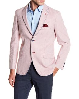 Red Striped Two Button Notch Lapel Sport Coat