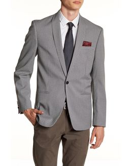 Black Dotted Single Button Shawl Lapel Extra Trim Sports Coat