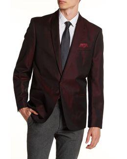 Burgundy Single Button Shawl Lapel Extra Trim Sports Coat