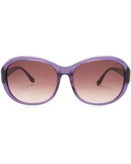 Women's Plastic Oval Rhinestone Sunglasses