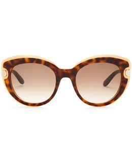 Women's Layered Plastic Cat Eye Sunglasses