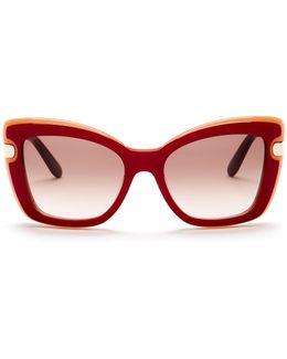 Women's Oversized Square Plastic Frame Sunglasses