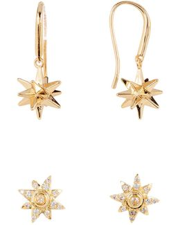 Stars Drop & Cz Earrings Set