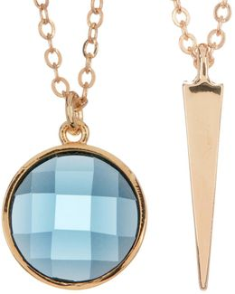 Spike Pendant & Blue Topaz Necklace Set
