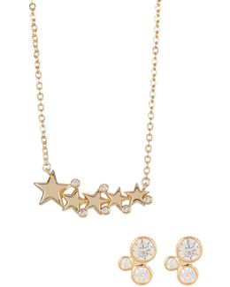 Cz Jasmine Studs & Celestial Necklace Set