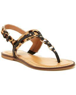 Sirang Reptile-embossed Thong Sandal