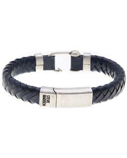 Hook Detail Leather Braided Bracelet