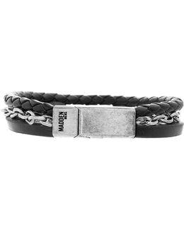 Braided Leather Chain Bracelet