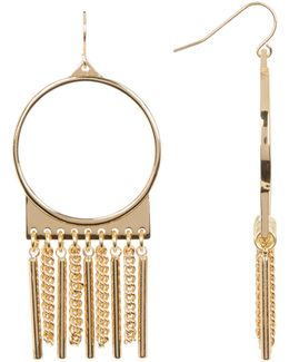 Open Circle, Fringe, & Bar Drop Earrings
