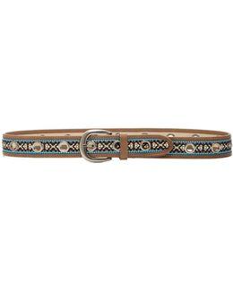 Embroidered Grommet Belt