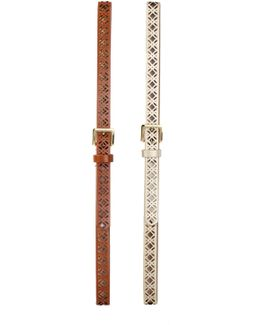 Faux Leather Belts - Set Of 2