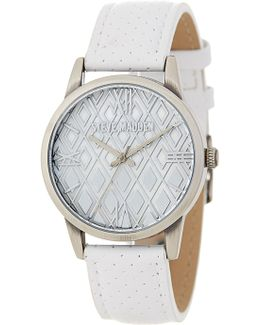 Women's Perforated Leather Strap Watch