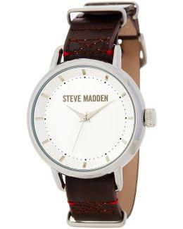 Women's Double-loop Leather Strap Watch