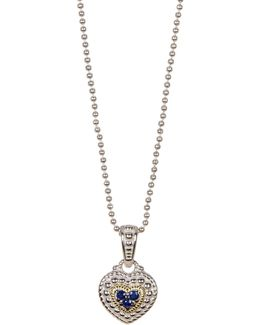 Sterling Silver Pave Center Heart Drop Necklace