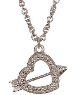 Sterling Silver Arrow Heart Charm Necklace