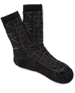 Lily Pond Pointelle Wool Blend Socks