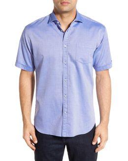 Trim Fit Short Sleeve Dobby Sport Shirt