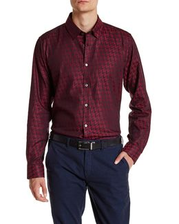Thomaz Long Sleeve Dogtooth Trim Fit Shirt