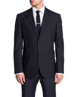 Jay Navy Checkered Two Button Notch Lapel Wool Jacket