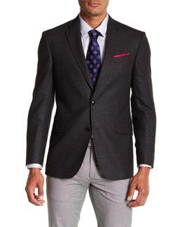 Jones Grey Printed Trim Fit Wool Sport Coat