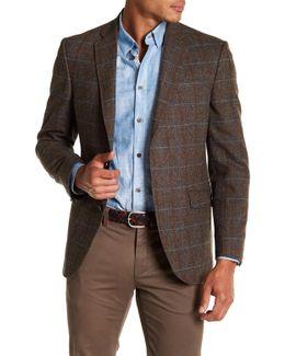 Jones Beige Check Trim Fit Wool Blend Sport Coat