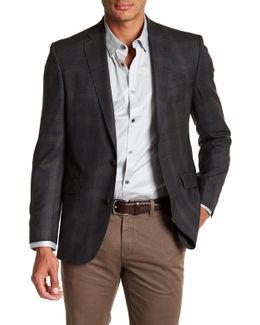 Jones Grey Plaid Trim Fit Wool Sport Coat