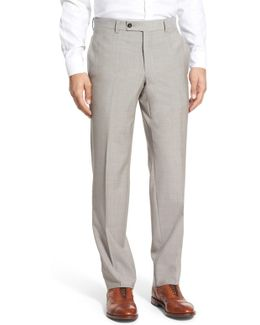 Jefferson Flat Front Solid Wool Trouser