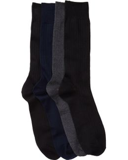 Casual Crew Ribbed Socks - Pack Of 4