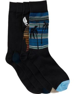 Black Multi-print Socks - Pack Of 4