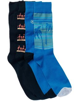 Flamingo Palm Multi-print Socks - Pack Of 4