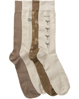 Relax Palm Crew Socks - Pack Of 4