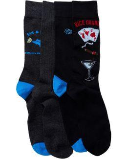 Fin & Tonic Crew Socks - Pack Of 4