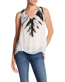V-neck Double Layer Twin Layer Blouse
