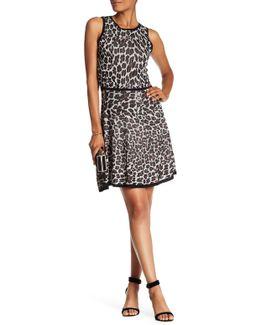 Huxley Leopard Print Fit & Flare Sweater Dress