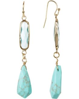Crystal And Turquoise Drop Earrings
