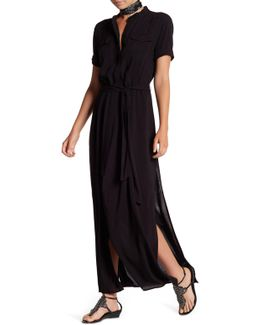 Waist Belt Maxi Shirt Dress