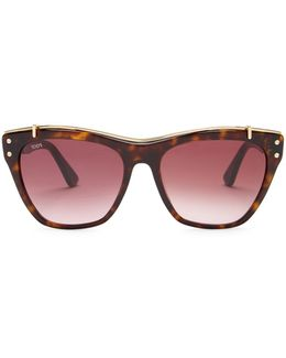 Women's Brow Bridge Acetate Frame Sunglasses