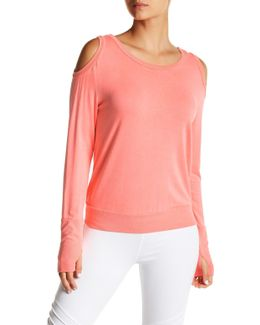 Lattice Back Cold Shoulder Shirt