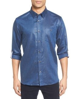 Laavno Extra Slim Fit Linen Blend Sport Shirt